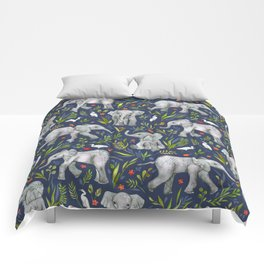 Baby Elephants and Egrets in Watercolor - navy blue Comforters