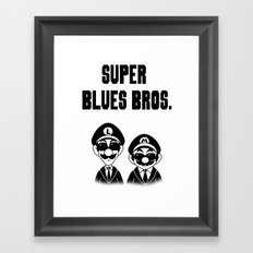 Super Blues Bros. (Black and White) Framed Art Print