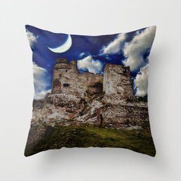 Castle ruins in Levice at night Throw Pillow