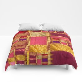 """Exotic fabric, ethnic and bohemian style, patches"" Comforters"