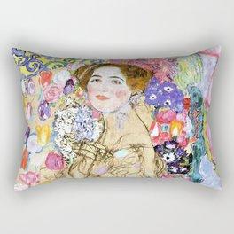 "Gustav Klimt ""Portrait of Maria Munk (unfinished)"" Rectangular Pillow"