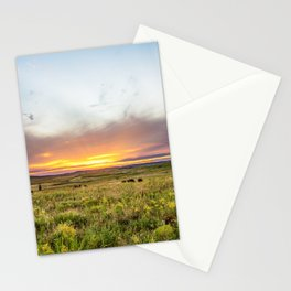 Tallgrass Prairie - Sunset and Bison on the Plains Stationery Cards