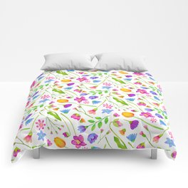 Spring Floral Watercolor Pattern Comforters