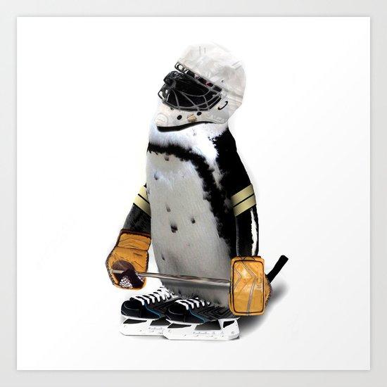 Little Mascot Hockey Player Penguin Art Print