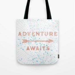 Adventure Awaits Rose Gold Tote Bag
