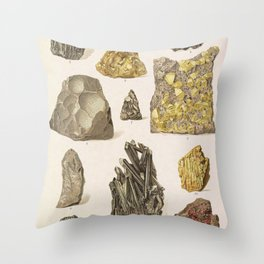 Vintage Gold Minerals Throw Pillow