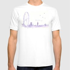Watercolor landscape illustration_London Eye White Mens Fitted Tee MEDIUM