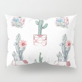 Rose Gold Potted Cactus with Succulents Pillow Sham