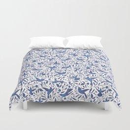 Delft Blue Humming Birds & Leaves Pattern Duvet Cover