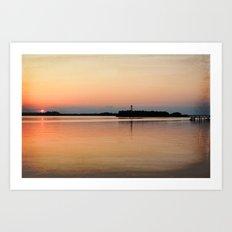 Lower Cape Fear River Sunset Burnished Art Print