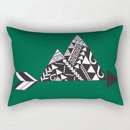 Tribal Mountains in Green Rectangular Pillow