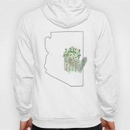 arizona // watercolor saguaro flower state flower map Hoody