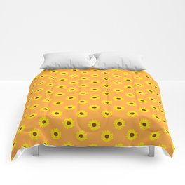 Sunflower Pattern on Orange Comforters
