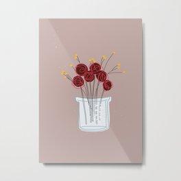 Maroon Test Jar Flowers Metal Print