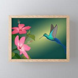 Colorful Hummingbird on Hibiscus Flower Framed Mini Art Print