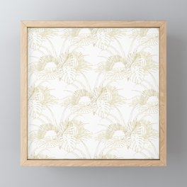 Elegant tropical leaves golden strokes design Framed Mini Art Print