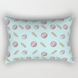 Cute funny teal blush pink food sweet donuts polka dots Rectangular Pillow