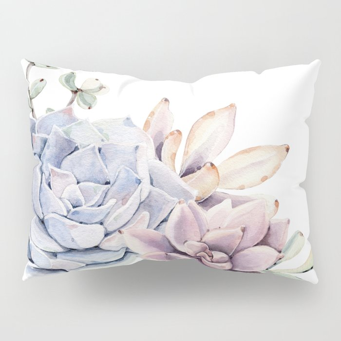 Pristine Succulents Blue and Pink Pillow Sham