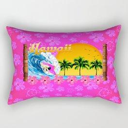 Pink Hibiscus Hawaiian Surfing Rectangular Pillow