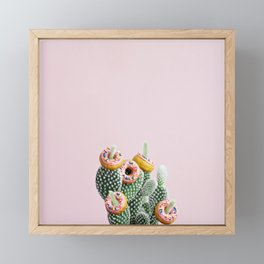 Donut Cactus In Bloom Framed Mini Art Print