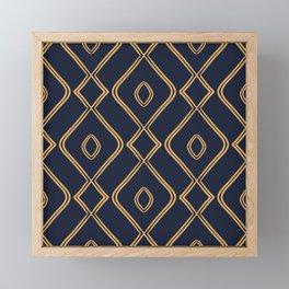 Modern Boho Ogee in Navy & Gold Framed Mini Art Print