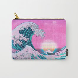 Vaporwave Aesthetic Great Wave Off Kanagawa Synthwave Sunset Carry-All Pouch