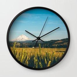 Golden Grain Fields Overlooking Cascade Mountains Wall Clock