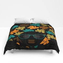 Afro Diva: Fall Colors Brown Gold Teal Comforters