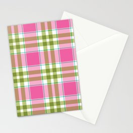 Pink Green Madras Plaid Stationery Cards