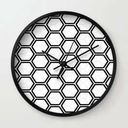 Modern black white abstract geometrical pattern Wall Clock