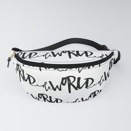 World. Black and white pattern. Fanny Pack