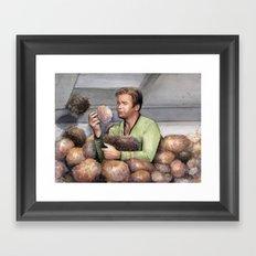 Captain Kirk and Tribbles Sci-Fi Portrait Framed Art Print