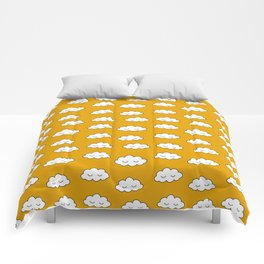 Dreaming clouds in honey mustard background Comforters