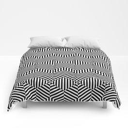 Op art hexagon Comforters