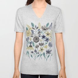 Modern Gray Yellow Floral Watercolor Pattern Unisex V-Neck