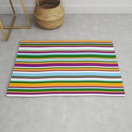 Eyecatching Orange, Purple, Mint Cream, Light Sky Blue & Dark Green Colored Stripes/Lines Pattern Rug