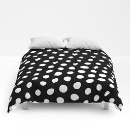 White Dots with Black Background Comforters