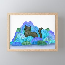 Blue Forest and Black Cat Watercolor Framed Mini Art Print