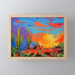 Saguaros Land Sunset Framed Mini Art Print
