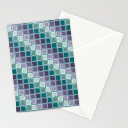 Diagonal Striped Tiles, Purple Teal on Blue Stationery Cards