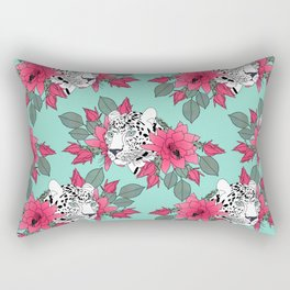 Stylish leopard and cactus flower pattern Rectangular Pillow