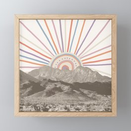 Summerlin Mountain // Abstract Vintage Mountains Summer Sun Vibe Drawing Happy Wall Hanging Framed Mini Art Print
