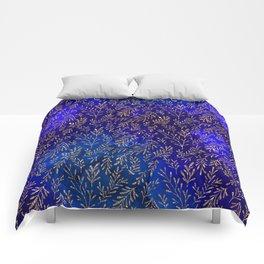 Glitter Gold Petit Leaves on Purple Blue Background Comforters