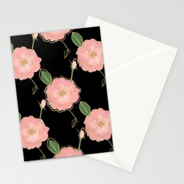 Elegant Pink & Gold Watercolor Roses Black Design Stationery Cards