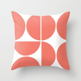 Mid Century Modern Living Coral Square Throw Pillow