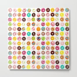 Funny Pattern With Juicy And Tasty Donuts Metal Print
