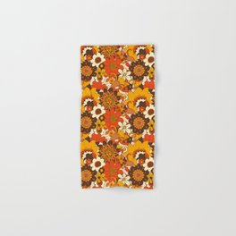 Retro 70s Flower Power, Floral, Orange Brown Yellow Psychedelic Pattern Hand & Bath Towel