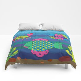 Stylize fantasy fishes under water. Comforters