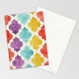 Quatrefoil pattern in pastel shades Stationery Cards