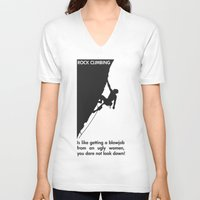 climbing V-neck T-shirts featuring Rock Climbing by Rothko